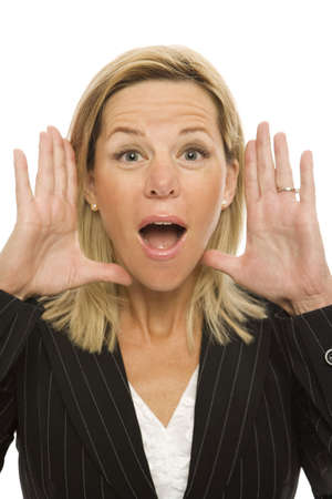 Businesswoman in a suit gestures with her hands and yells