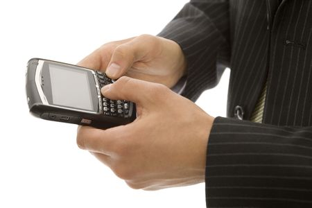 Businessman uses his thumbs with a mobile device