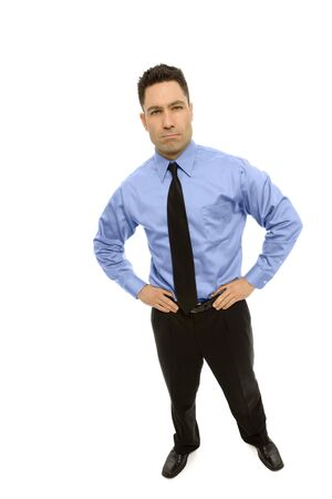 masculin: Businessman stands wearing a business suit Stock Photo