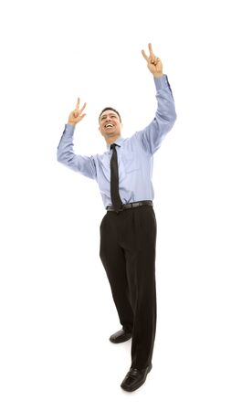 A businessman gestures excitement with his arms Stock Photo