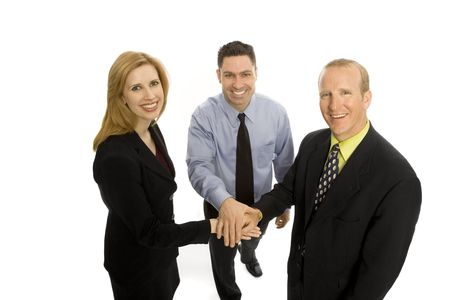 Three business people gesture teamwork Stock Photo