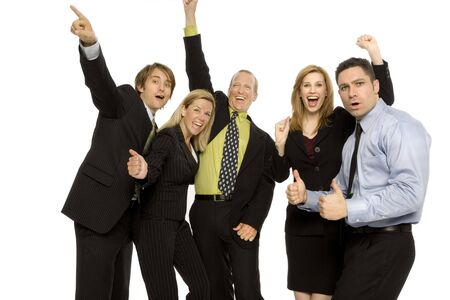 Business people gesture excitement together Stock Photo