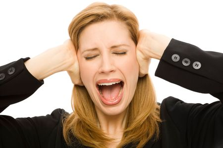careerist: A Businesswoman covers her ears with emotion Stock Photo