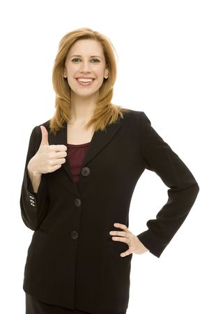 A businesswoman gestures a thumbs-up