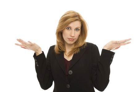 Businesswoman gestures confusion with her hands Stock Photo