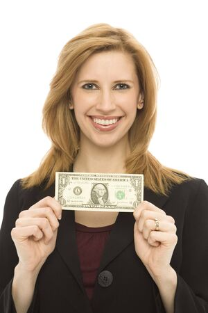 Businesswoman in a suit holds a dollar bill photo