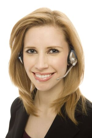 Businesswoman in a suit happily uses a headset Stock Photo - 1229166