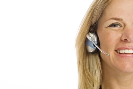 Woman with headset smiles Stock Photo - 1415194