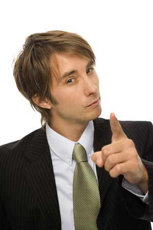Businessman in a black suit gestures with his finger