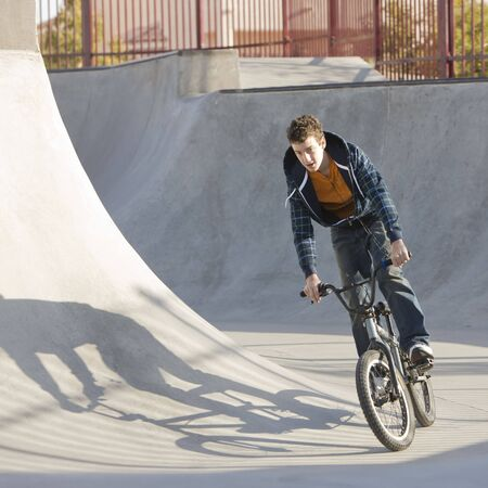 Biking at skatepark