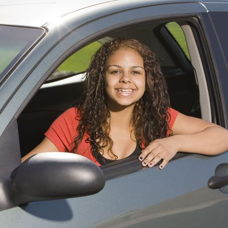 Happy teen in car Stock Photo