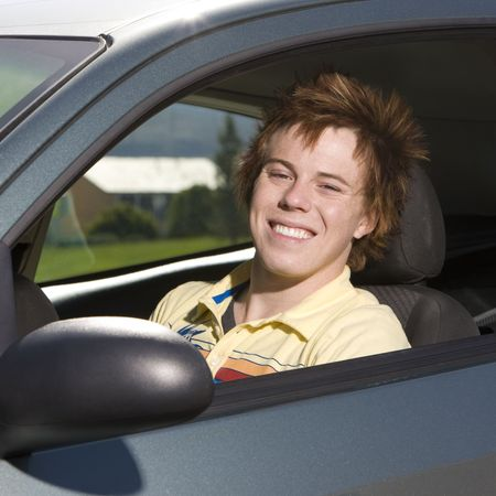 Happy teen in car Stock Photo - 3569622