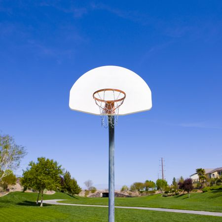 Basketball hoop in a green park