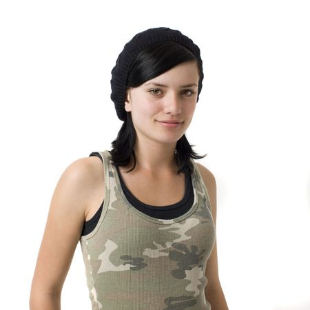 A girl in army shirt smile