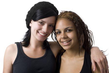 Two girls hang out in a studio Stock Photo