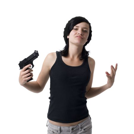 A girl gestures like a gangster with a gun