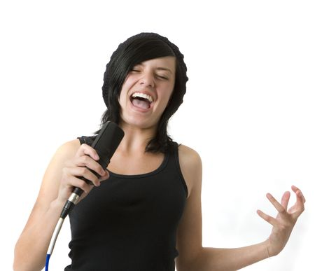 A girl sings and gestures Stock Photo
