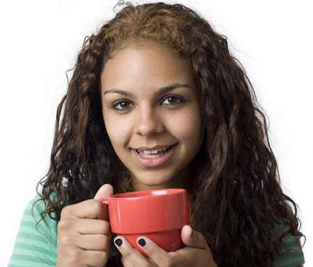 A girl with a red cup smiles Stock Photo - 3829098