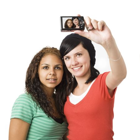 Teens take self portrait with a digital camera Stock Photo