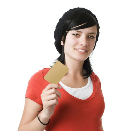 Girl with credit card and smiles photo