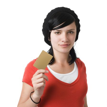 Girl with credit card Stock Photo
