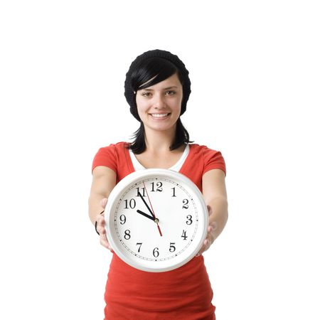 Girl with clock smiles photo