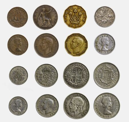shilling: Isolated Set of Pre Decimal English Coins
