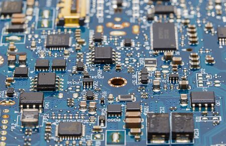 circuitry: Close up shot of an electronic circuit board