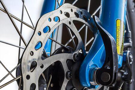 Close up shot of a cycle disc brake rotor