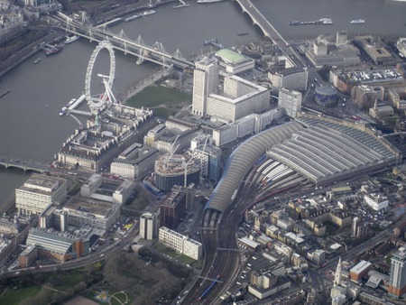 Aerial shot of Londons South Bank, including the London Eye and Waterloo station Editorial