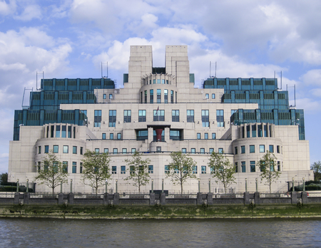View of the MI5 intelligence building on the River Thames at Vauxhall, London, UK