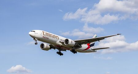 plane landing: London - April 2015: Emirates Sky Cargo Plane Landing Approach