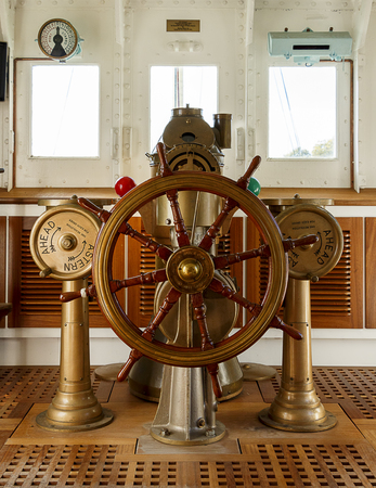astern: Wooden Controls of an old vintage ship