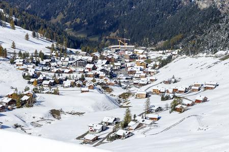 Aerial shot of Malbun village in Leichtenstein