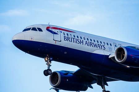 airways: British Airways Passenger Jet airport landing approach
