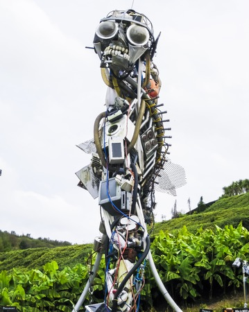 WEEE Man is a giant robot made entirely from recycled electronics