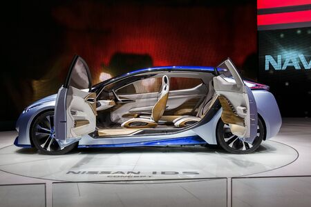 allowing: Nissan IDS Concept Car, which has an autopilot mode allowing it to drive itslef. Taken at 86th Geneva International Motor Show 2016