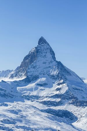 Shot of the famous Matterhorn mountain, one of the highest peaks in Europe, and the mountain featured on Toblerone chocolate