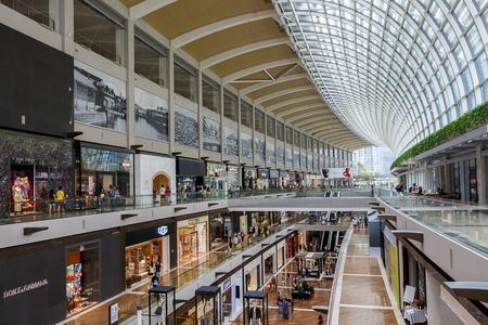 A shot of the multi-Storey Marina Bay Shopping Mall, Singapore