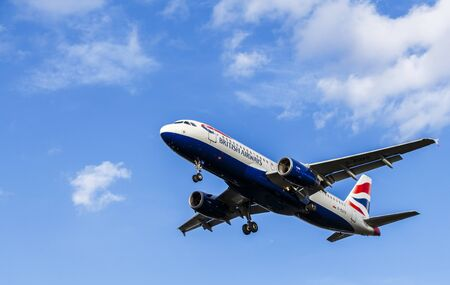 British Airways Airbus A320 passenger aircraft landing approach