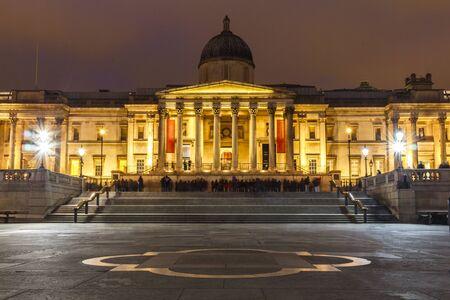trafalgar: LONDON, UK - CIRCA 2015: National Gallery at Night
