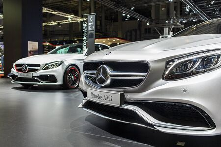 BARCELONA, SPAIN - MAY 2015: Mercedes Stand at Barcelona Motor Show Editorial
