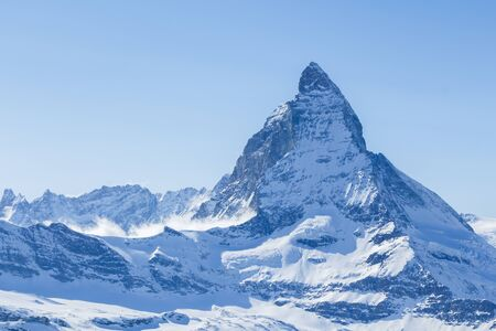 The Matterhorn in the Swiss Alps Stock Photo