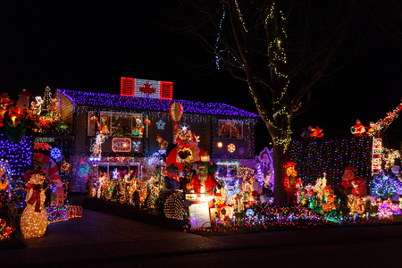 White Rock, Canada - Circa 2018, Christmas Lights in front of a house