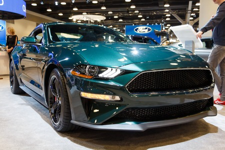 Vancouver, Canada - March 2019 : Ford Mustang Bullitt, taken at 2019 Vancouver Auto Show