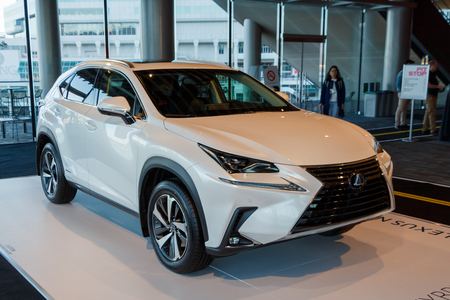 Vancouver, Canada - March 2019 : Lexus nx300h Hybrid SUV, taken at 2019 Vancouver Auto Show 報道画像
