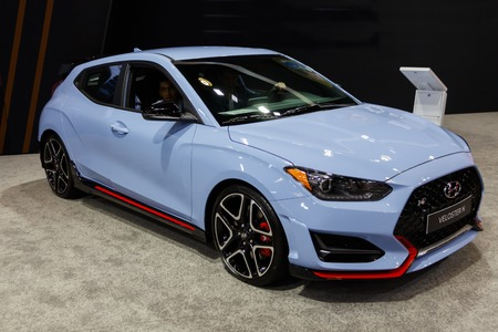 Vancouver, Canada - March 2019 : Hyundai Veloster, taken at 2019 Vancouver Auto Show