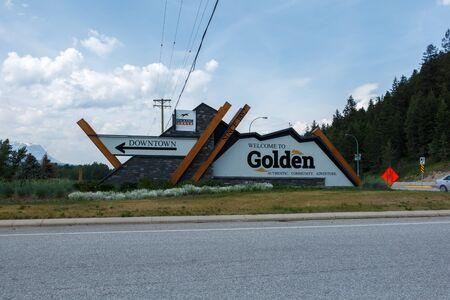 Golden, Canada - Circa 2019 : Welcome to Golden sign
