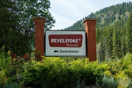 Revelstoke, Canada - Circa 2019 : Welcome to Revelstoke sign