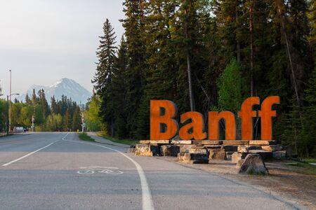 Banff, Canada - Circa 2019 : Welcome to Banff Sign Editorial